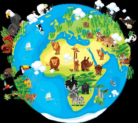 Animals Cartoon of World .