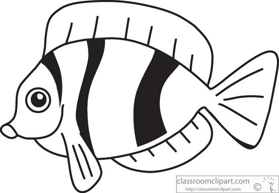 Animals Fish Black White Outline 914 Classroom Clipart