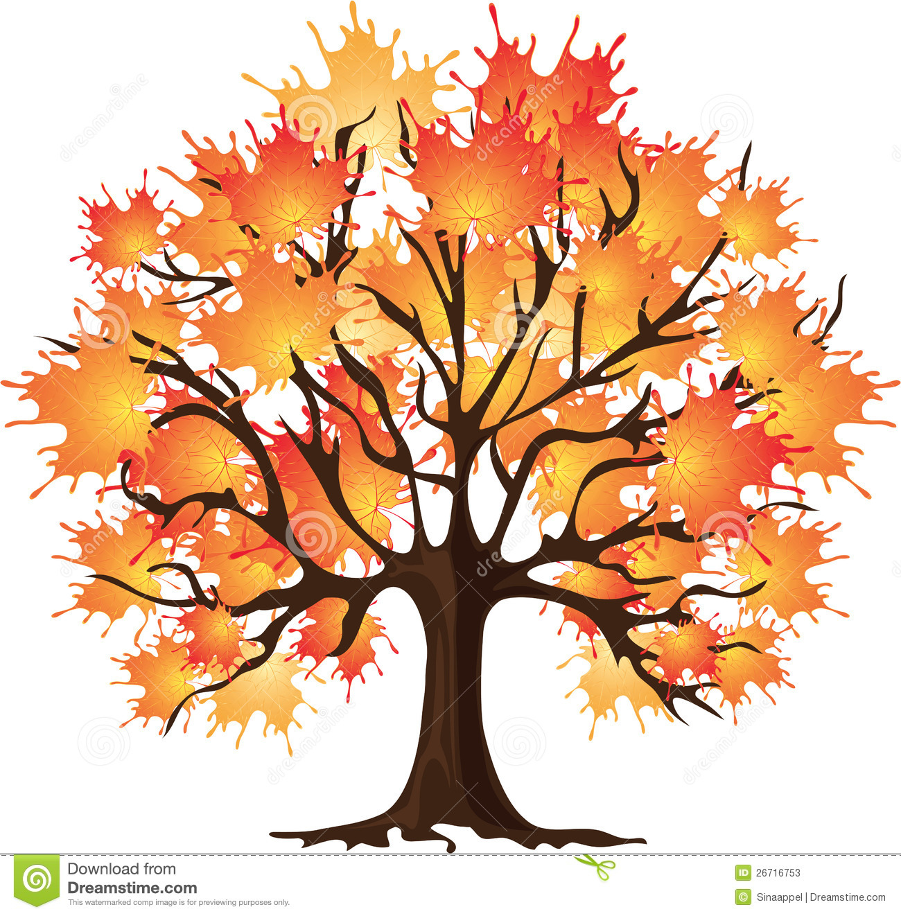 Animated Fall Tree Clip Art Art Autumn Tree Maple Vector Illustration