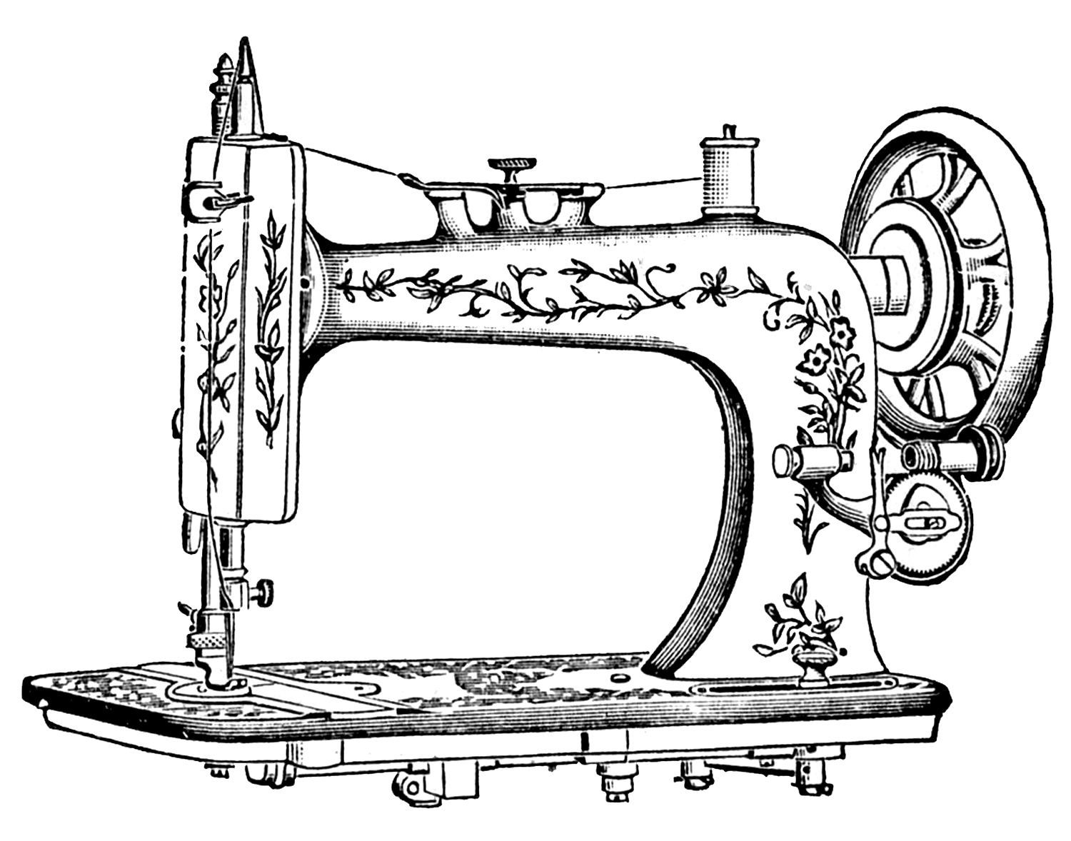 Antique Clip Art u2013 Pretty White Sewi-Antique Clip Art u2013 Pretty White Sewing Machine-16