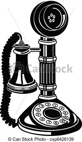 Antique Telephone Or Phone Clip Art - csp6426139