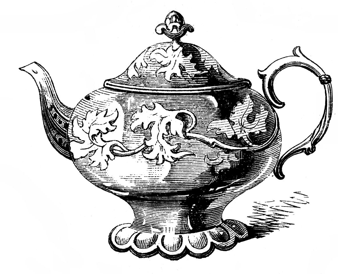 Free Vintage Clip Art u2013 2 Ornate Tea-Free Vintage Clip Art u2013 2 Ornate Teapots-0
