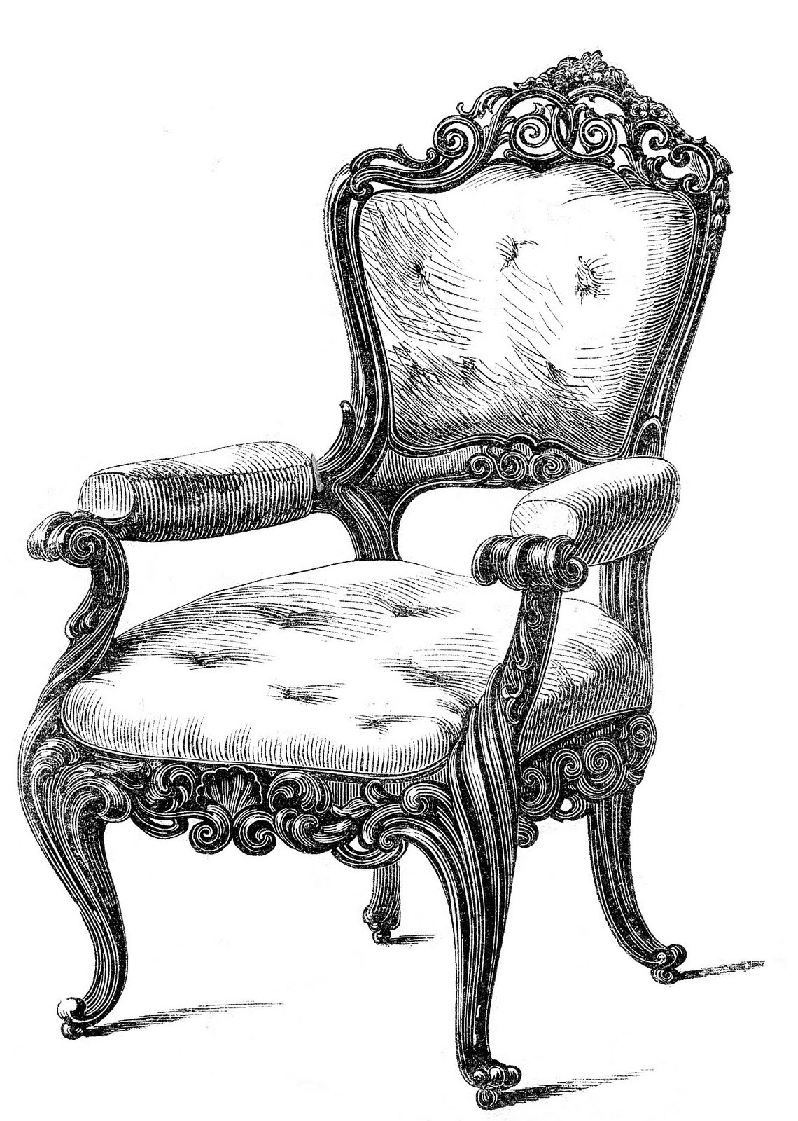 Vintage Clip Art u2013 2 Fancy Chairs