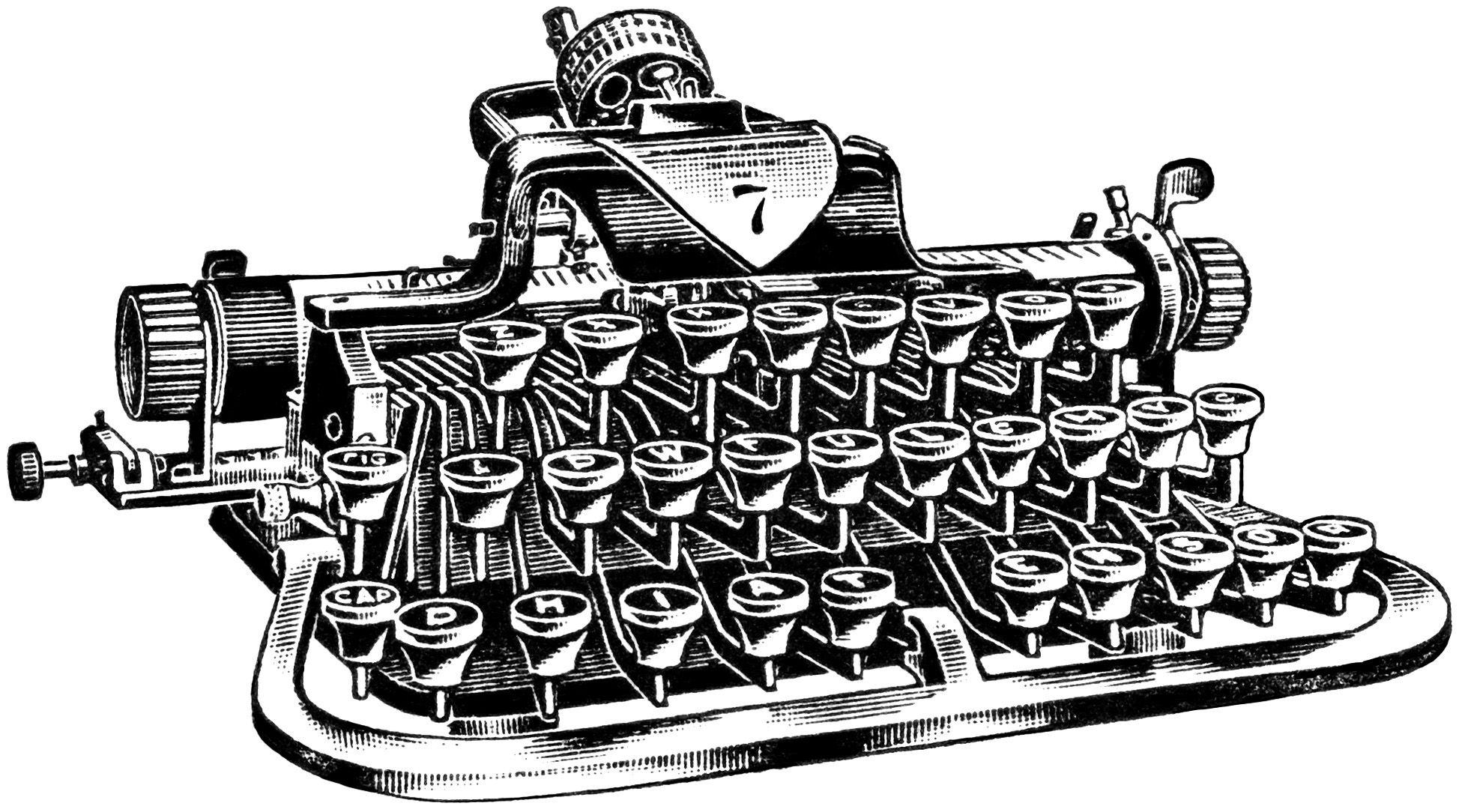 Vintage Clip Art - 3 Antique Typewriter -Vintage Clip Art - 3 Antique Typewriter Graphics - The Graphics Fairy for  RSVP? Description-13