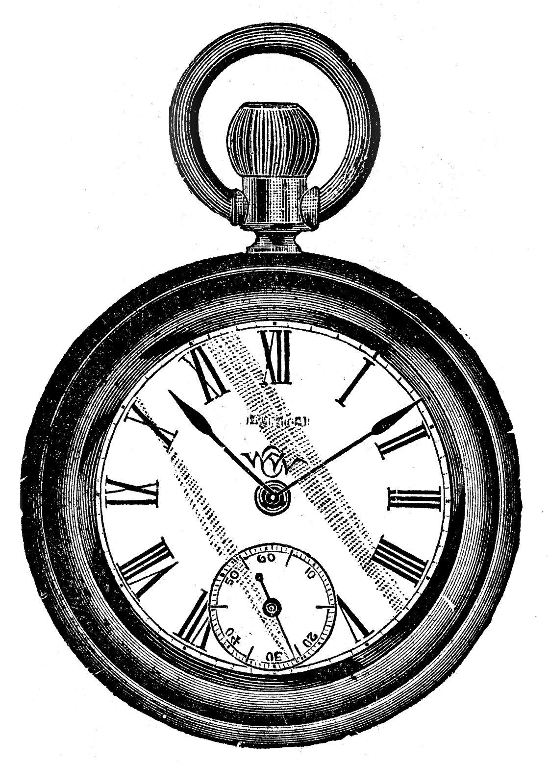 Vintage Clip Art U2013 Antique Pocket Wa-Vintage Clip Art u2013 Antique Pocket Watch-14