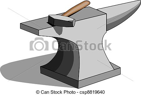 ... Anvil and hammer - Vector illustration of classic.