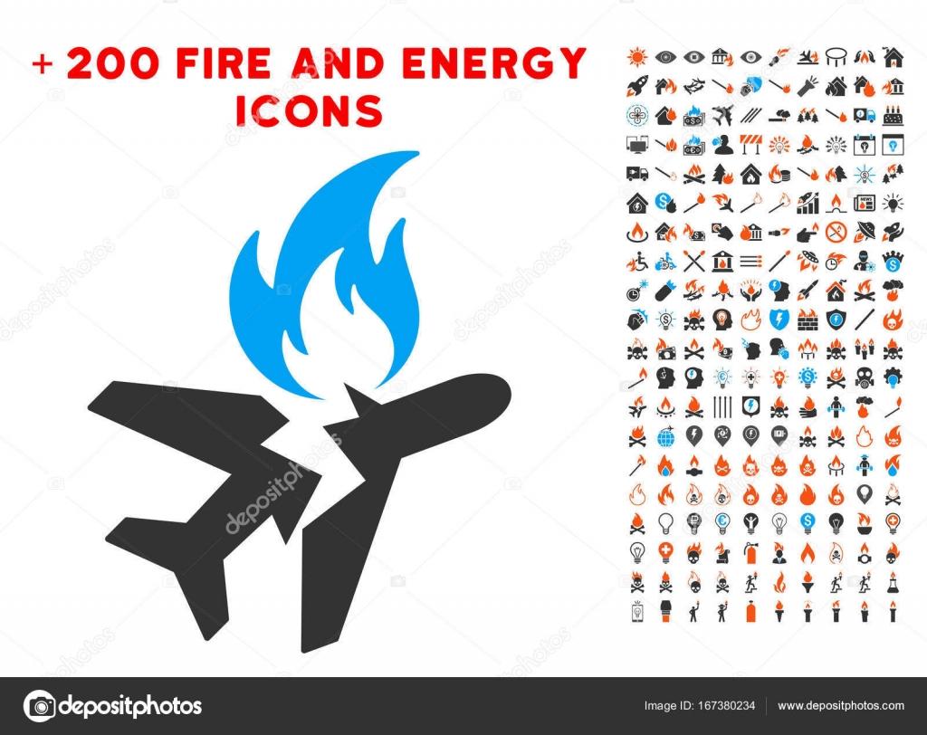 Airplane Fire Crash Icon with Bonus Powe-Airplane Fire Crash Icon with Bonus Power Clipart u2014 Stock Vector-15