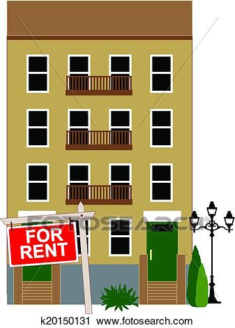 Apartment building with a sign for rent, vector illustration