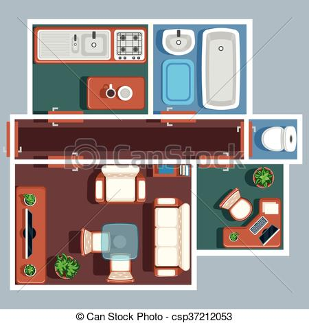 Apartment Floor Vector Plan With Furniture