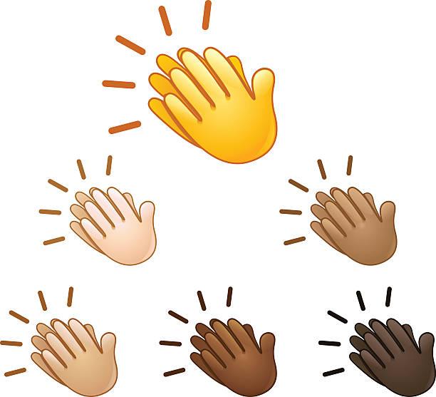 Clapping hands sign emoji vector art illustration