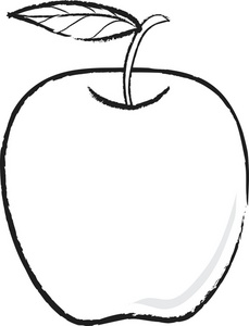 apple clipart black and white