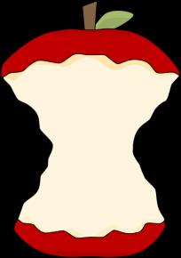 Apple Core Clip Art Image - clip art image of a red apple core.