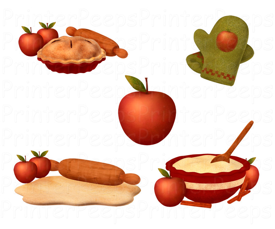 Apple Pie Clipart Scrapbook Pack Digital Scrapbooking Rolling Pin Baking Oven Mitts Bowl of Dough Wooden Spoon INSTANT Download PNG