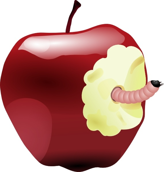 Apple With Worm clip art