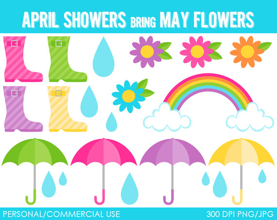 April Showers Clipart Digital Clip Art G-April Showers Clipart Digital Clip Art Graphics For Personal Or-12