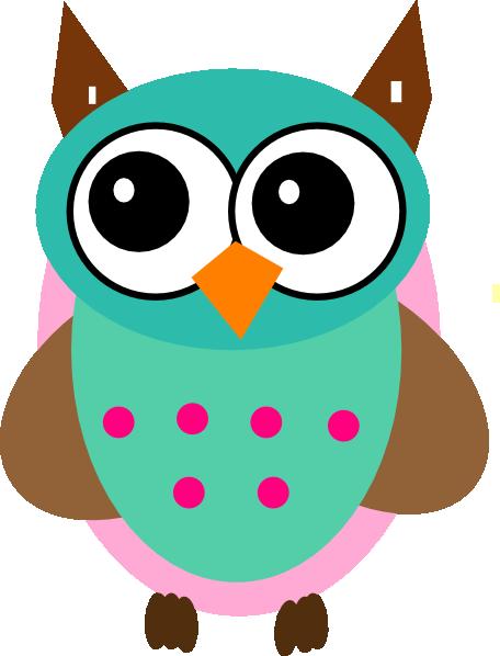 Aqua Pink Owl clip art .