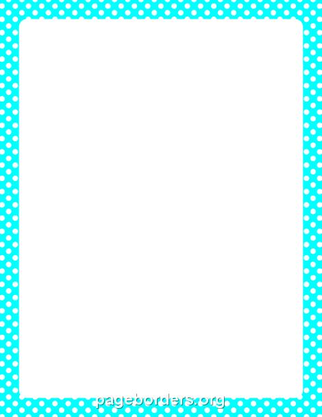 Aqua Polka Dot Border