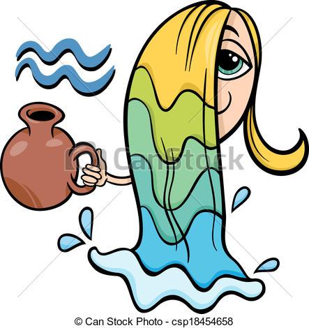 aquarius zodiac sign cartoon - csp18454658