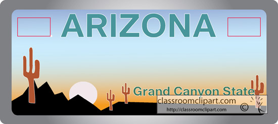 Arizona Arizona State License Plate 2 Classroom Clipart