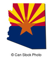 Arizona Map flag illustration - Map and flag of the State of.