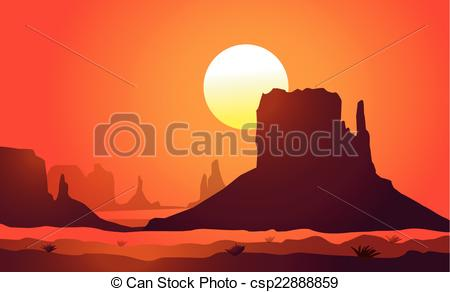 ... Arizona (Monument Valley)Sunset Is A-... Arizona (Monument Valley)Sunset is a vector illustration.-12