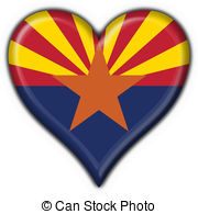 ... Arizona (USA State) button flag heart shape - 3d made