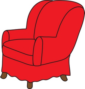 Arm Chair Clipart Image: clip art illustration of a red arm chair