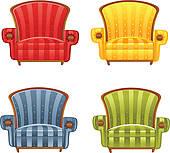 Cartoon old armchair · Color bright vector armchair