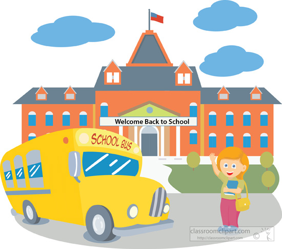 around the globe clipart. school building with bus .