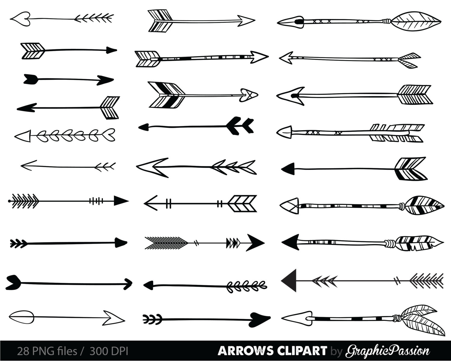 Arrows clip art, tribal arrow clipart, archery hand drawn arrows, doodle drawing tribal digital INSTANT DOWNLOAD