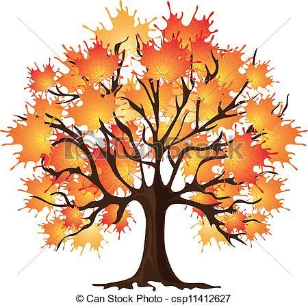 Art autumn tree. Maple .