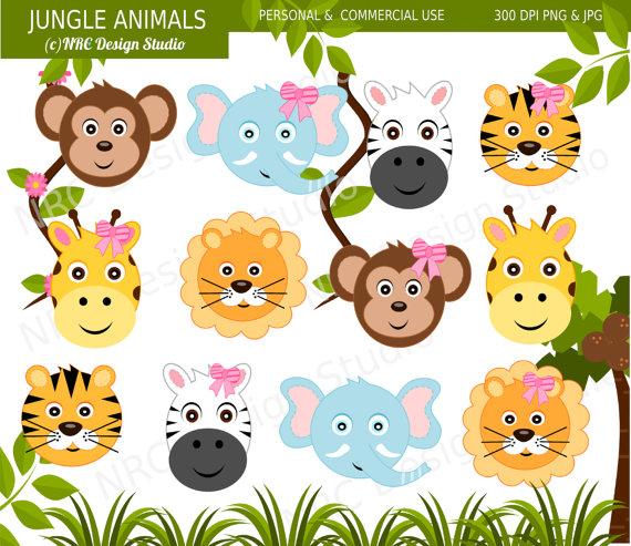 Art Cute Jungle Animal Clip Art Digital Jungle Animals Clipart