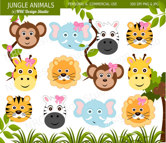 Art Cute Jungle Animal Clip Art Digital Jungle Animals Clipart