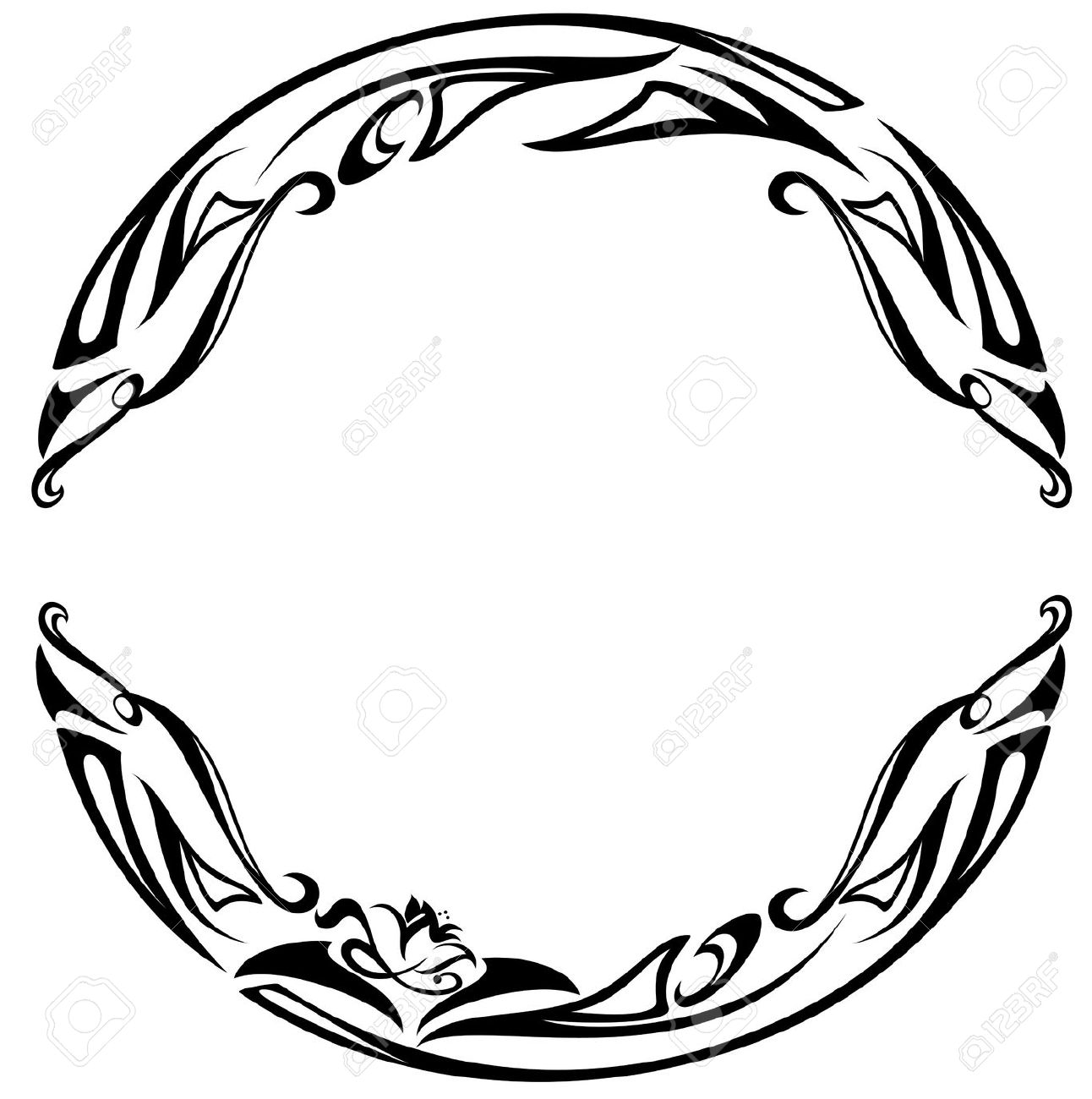 art nouveau border: art nouveau style round frame - black and white abstract floral design