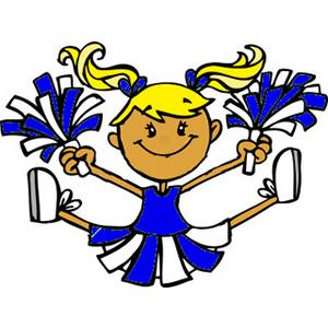 Art Of A Little Girl In A Blue Cheerlead-Art Of A Little Girl In A Blue Cheerleader Uniform Performing A Jump-2