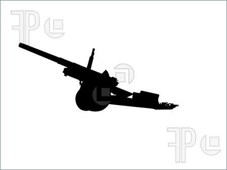 Artillery clipart: 4.5 medium artillery gun,