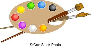 ... Artists Palette - Artists paint palette and brushes.