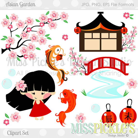 Asian Flowers Clip Art Asian Garden Commercial Use