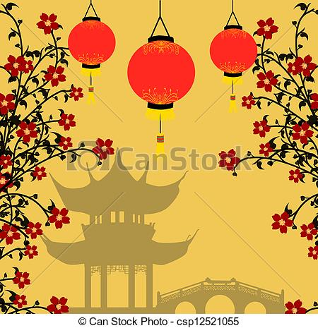 ... Asian style background, vector illustration - Traditional.