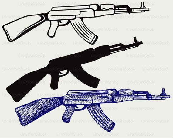 Assault rifle ak47 svg/assault rifle clipart/ak47 svg/rifle silhouette/rifle  cricut cut files/clip art/digital download designs/svg from LineWorkStock  on ClipartLook.com
