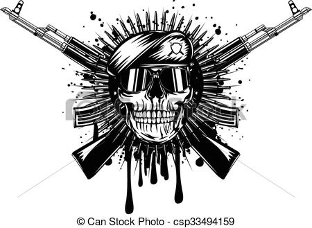 skull in beret crossed assault rifle - csp33494159