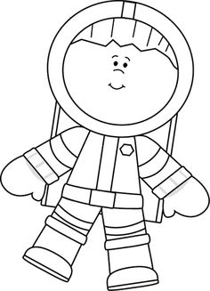 Astronaut Black And White Clipart #1