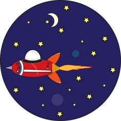 Astronomy Clip Art | Space Ship Clipart Image: Space ship flying through outer space with