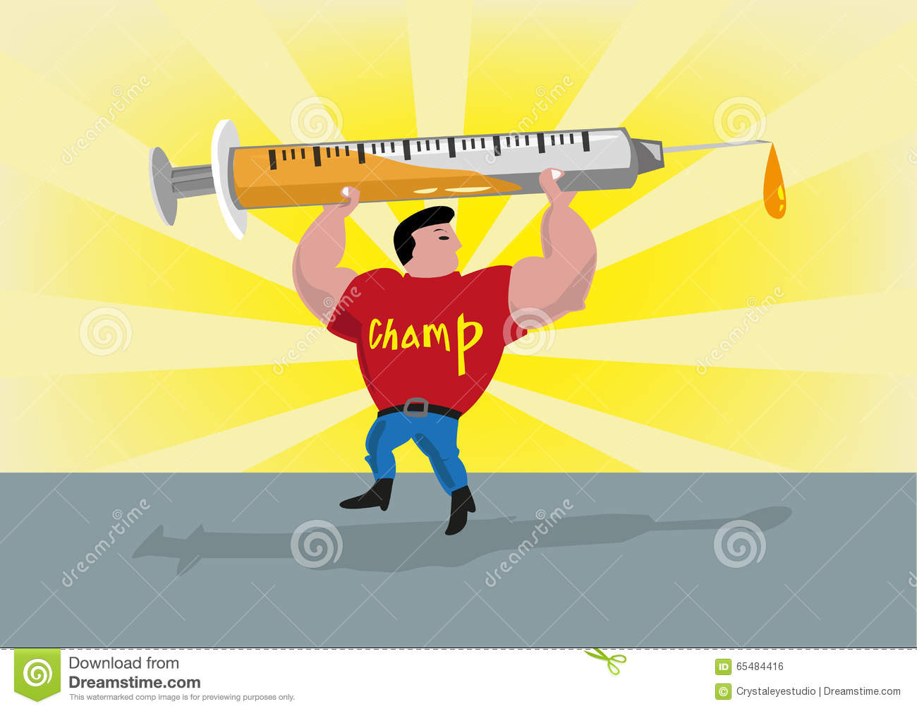 Athlete Lifts Up A Syringe. Doping Conce-Athlete Lifts Up a Syringe. Doping Concept. Editable Clip Art. Royalty Free Stock-0