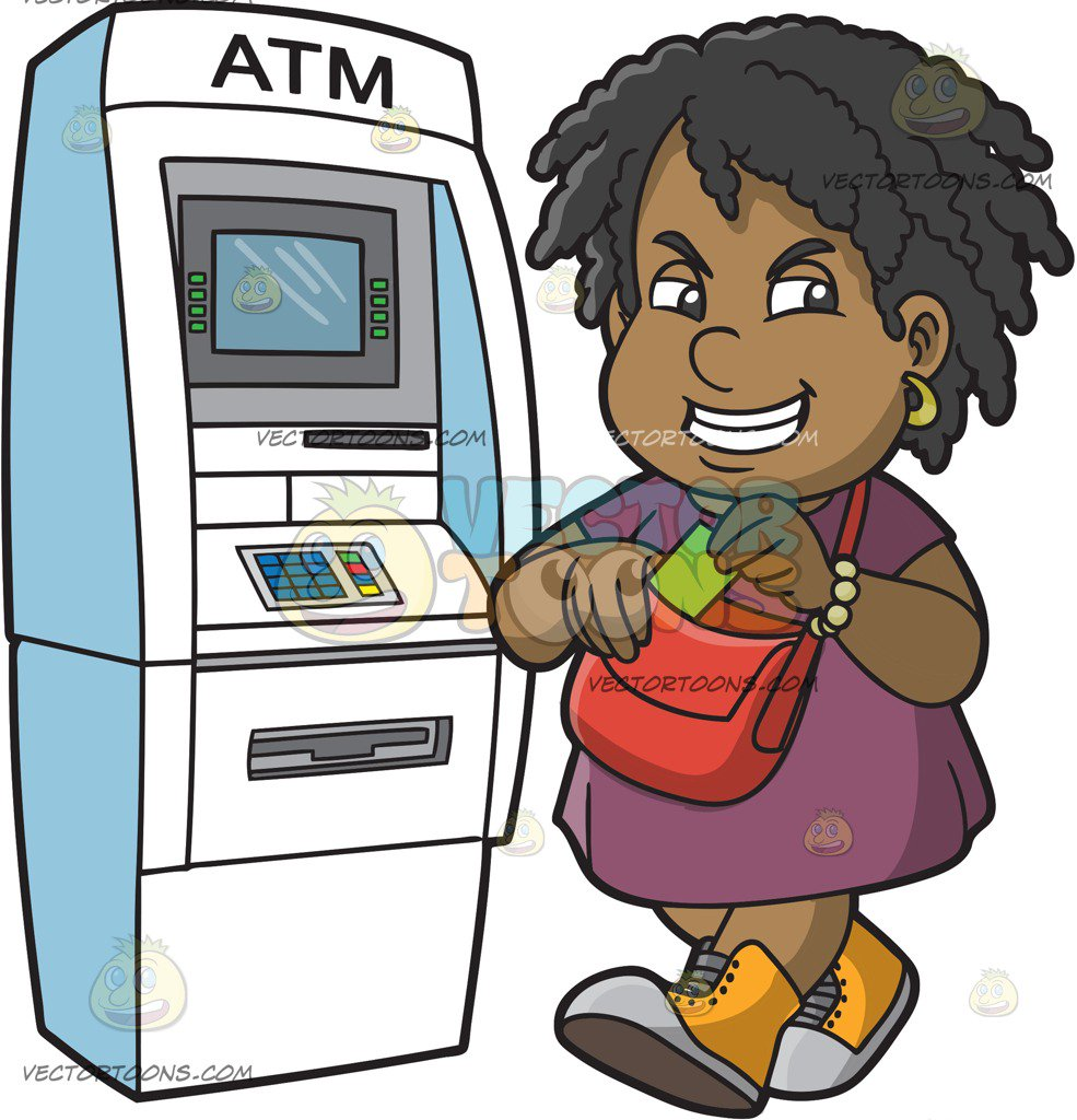 A Happy Black Woman Getting Cash From The Atm
