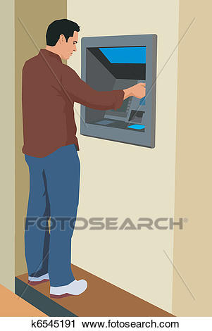 Clipart - Young man using an ATM machine. Fotosearch - Search Clip Art,  Illustration