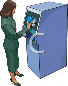 Woman Getting Money From an ATM Clip Art - Royalty Free Clipart Illustration