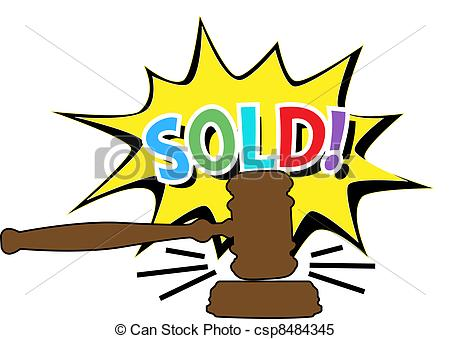 Auction gavel Sold cartoon icon - csp8484345