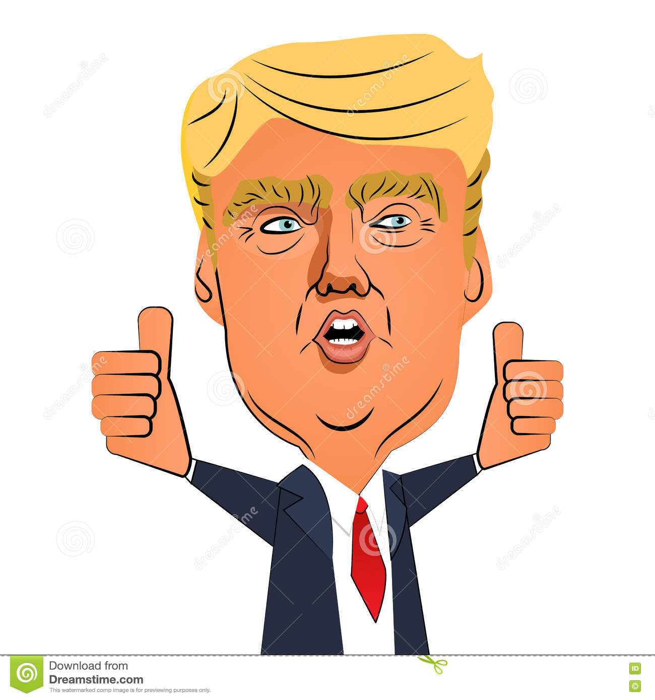 August 10, 2016: Donald Trump thumb up Stock Photos