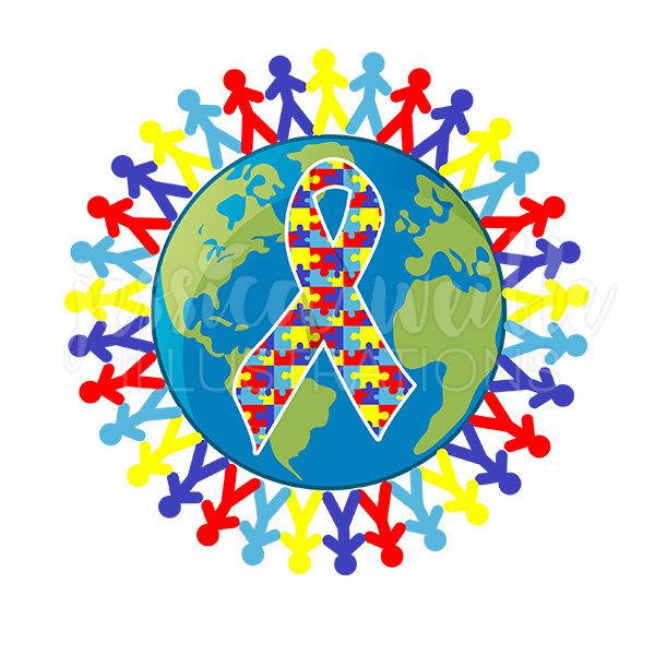 Autism Awareness Earth Cute Digital Clip-Autism Awareness Earth Cute Digital Clipart, Austism Awareness Clip art, Autism Graphics, Earth Illustration, #109-4